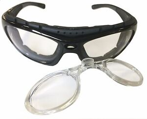 580386798e Image is loading Motorcycle-Riding-Glasses-Padded -Black-Clear-Lens-Removable-