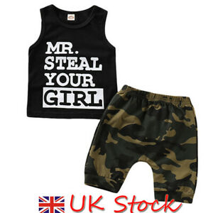 09f2732ee UK Kids Baby Boy Camo Outfits Sleeveless Vest Tops+Shorts Pants ...