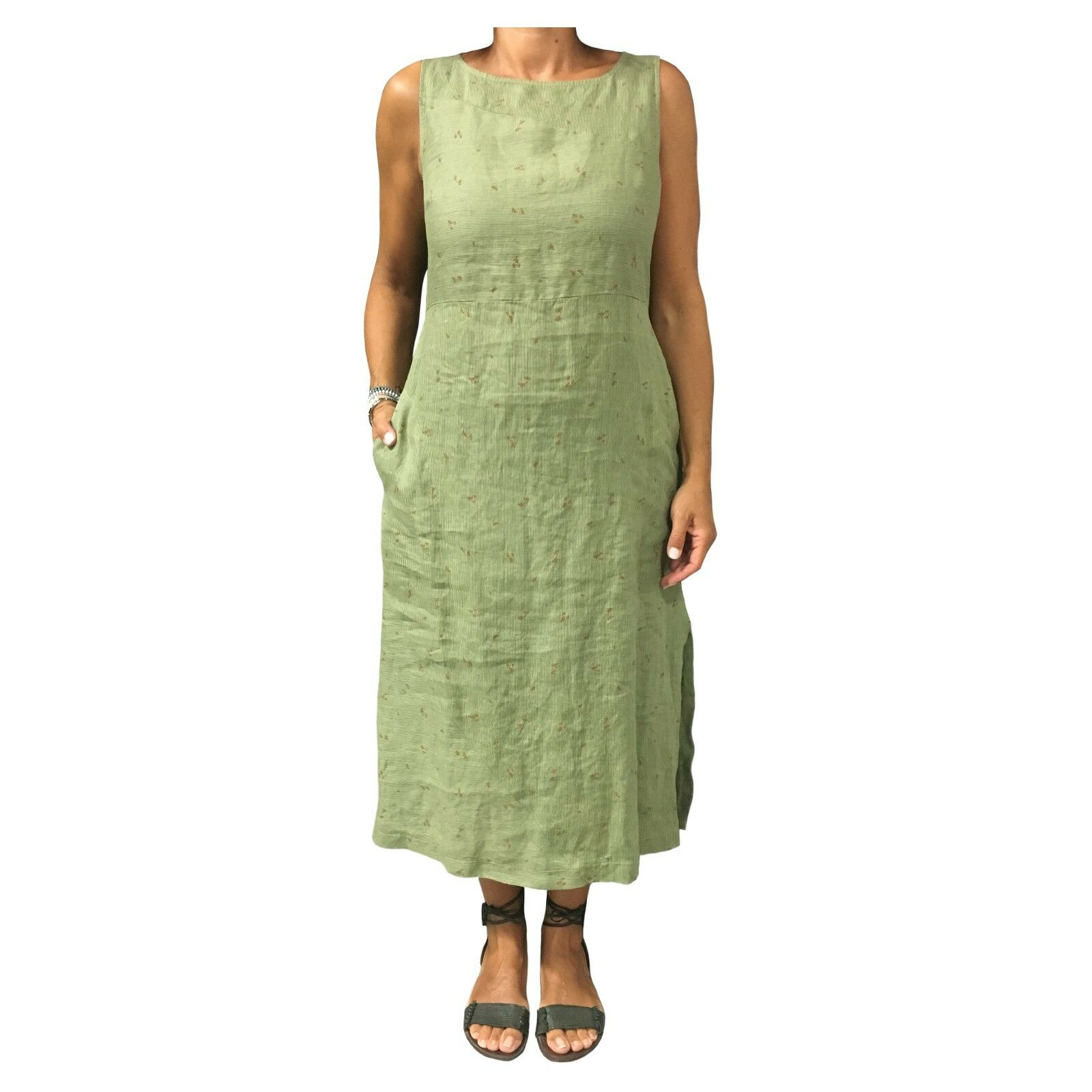 ECCENTRICA Kleid Frau grün Streifen Blaumenmuster mod A2 7186 53 100% Leinen