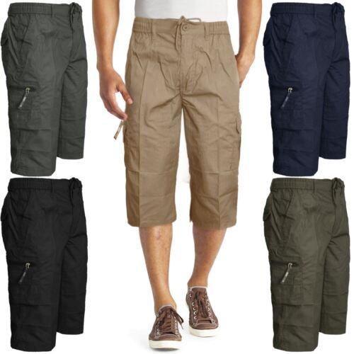 Da Uomo Nuovo Smart Casual Estate Plain Pantaloncini Vita Elasticizzata Pantaloni Con Tasconi lungo 3//4