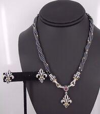 Lagos Caviar .925 Sterling / 750 18k Gold Fleur De Lis Necklace & Earring Set