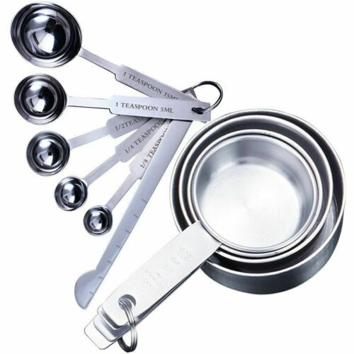4//5//6//8//10pcs Measuring Cups And Spoon Scoop Silicone Handle Kitchen Tools Metal