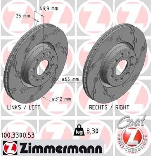2x ZIMMERMANN Bremsscheibe Bremsscheiben Satz Bremsen BLACK Z Vorne 100.3300.53