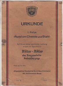 ADMV-Urkunde-I-Rallye-Rund-um-Chemie-amp-Stahl-Dreiradfahrzeug-1959-Riesa-DDR