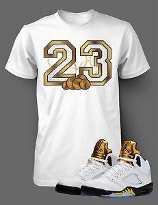 1ba917dfbf3f4d Tee Shirt to match Jordan 5 Olympic 23 Shirt Gold Mens White Short ...