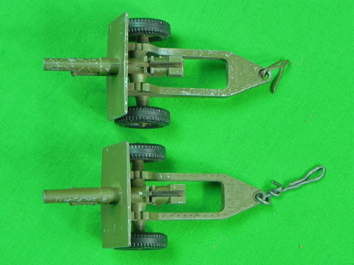 Vintage British English Set Set Set of 2 Toy Miniature Cannon 0545ca