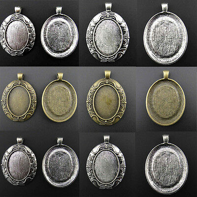 20/100x 22*30mm Charm Pendants Antique Style Silver Cameo Cabochon Setting Base