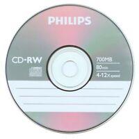 5 Philips Logo 12x Cd-rw Cdrw Rewritable Blank Disc Storage Media 80min 700mb