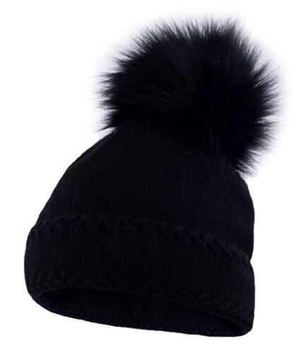 Warme Strickmütze Damen Wintermütze Bommelmütze gefüttert mit Bommel Neverless®