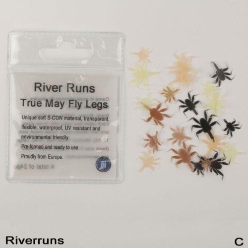 Riverruns Realistic Flies 24pcs//Bag May Fly Nymph Leg Fishing 4 Colors 3 Sizes
