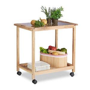 Dettagli su Carrello cucina in legno di noce Carrellino portavivande  multiuso, 2 ripiani