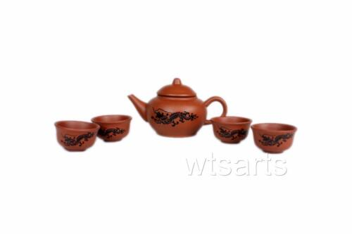 For Kung Fu Tea small cups Economical 5 Piece Clay Chinese Tea Set
