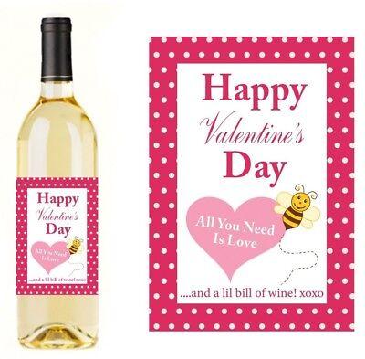 VALENTINES DAY PROSECCO RED WHITE ROSE WINE POEM BOTTLE LABEL STICKER VALEN10