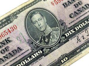 1937-Canada-10-Ten-Dollar-Prefix-ET-Canadian-Circulated-Banknote-L925