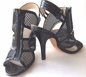 Isola-Cage-Sandal-Black-Leather-4-5-034-Heel-Zipper-Front-Slingback-Peeptoe-Women-7