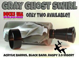 Duck-Call-Kit-Acrylic-Gray-Ghost-Exotic-Swirl-Barrel-amp-Pro-Tuned-Insert