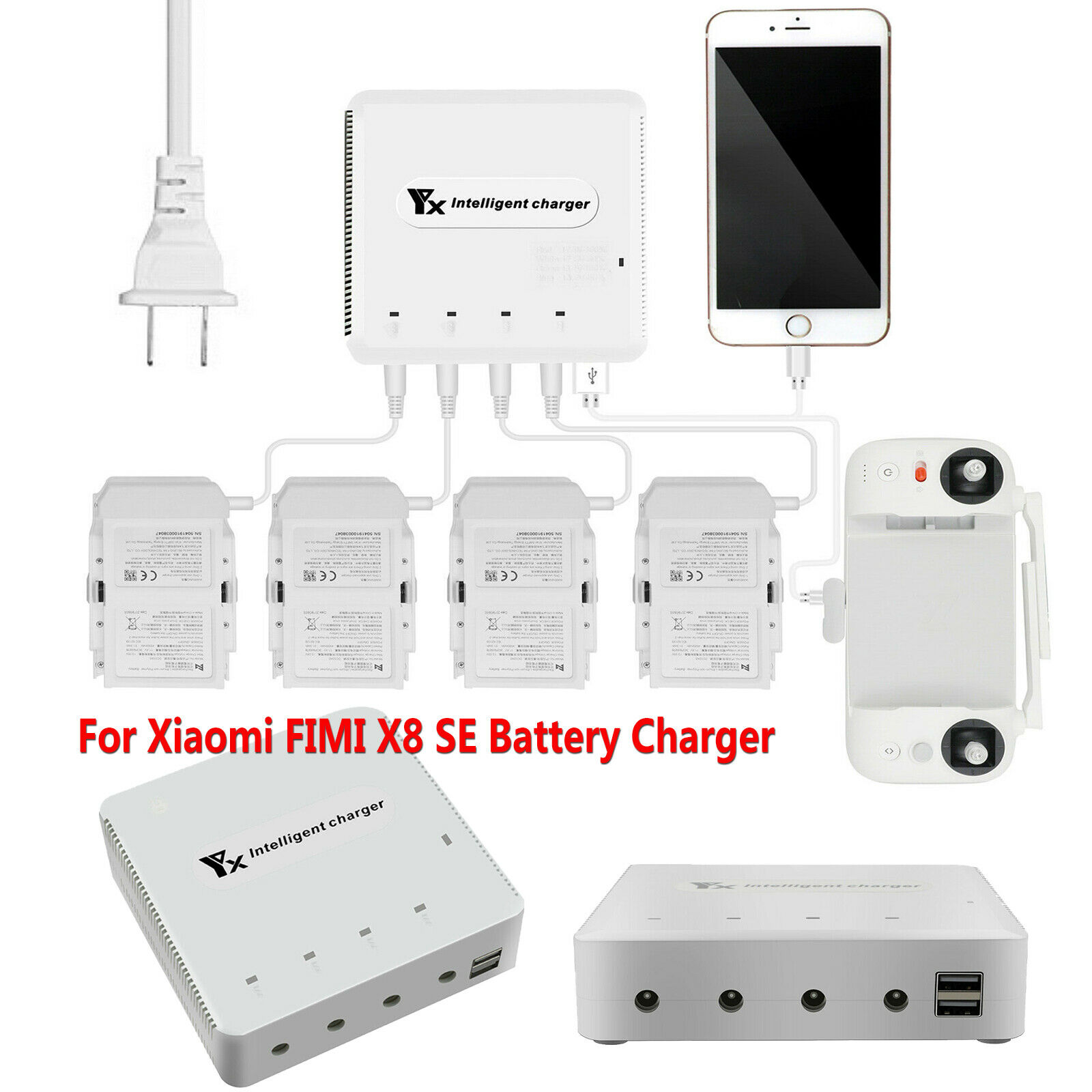 For Xiaomi FIMI X8 SE Quadcopter Multi Battery Charger Charging Hub Adapter Set