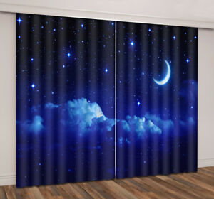 Space Planet Galaxy Starry Sky 3D Pattern Microfiber Blackout Fabric Rod Pocket Window Drapes for Kids Boys Living Room Bedroom Playroom 21 W X 45 L 2 Panels ANHOPE Outer Space Curtains