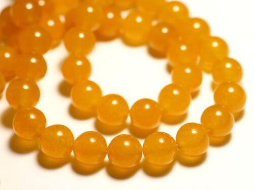Jade Boules 10mm Jaune Orange Safran Perles de Pierre Fil 39cm 37pc env