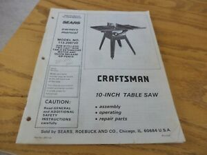 Craftsman 113.298720 Belt Drive 10 Inch Table Saw Manual ...