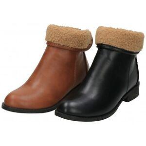 25737f05699 Black Tan Brown Flat Ankle Boots Fur Cuff Zip Fastening Faux Leather ...