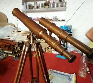 Antique-Brass-TELESCOPE-With-Wooden-Tripod-Stand-U-S-Navy-Marine-Nautical-Gift