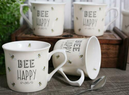 Set of 4 English Tableware Co Bee Happy Cream Fine China Mugs