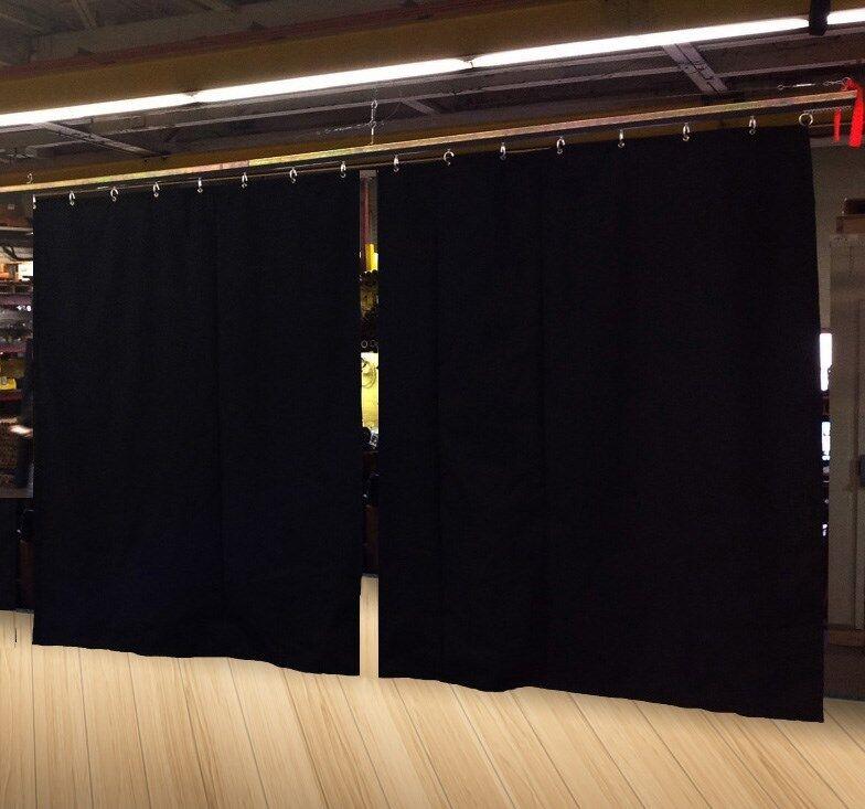Lote de (2) escenario Cortina telón de fondo negro partición, 12 H X 11 W cada uno, no-FR