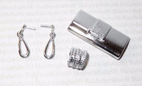 JEWELRY ~ CLUTCH LOT CE24 BARBIE SILVER PLASTIC EARRINGS BRACELET PURSE