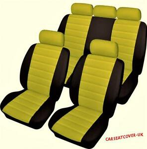 vw beetle luxury yellow black leather look car seat covers full set ebay. Black Bedroom Furniture Sets. Home Design Ideas