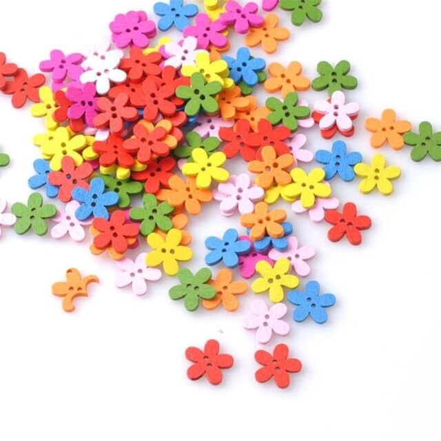 New 100pcs Wooden Buttons Flower 2 Holes Sewing Decorative Scrapbooking Buttons