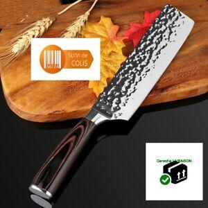 Couteau-de-cuisine-Chef-japonais-Santoku-Lame-18-cm-Acier-inoxydable-au-carbone