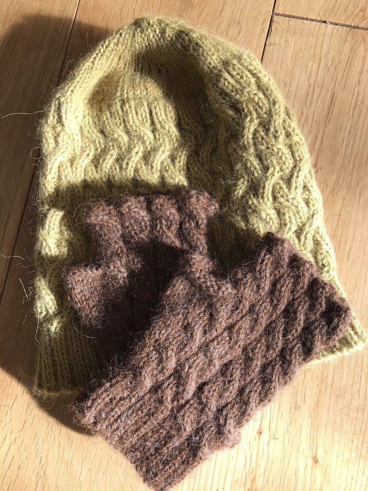 Hand Knitted Pure Alpaca Hat & Fingerless Gloves Set