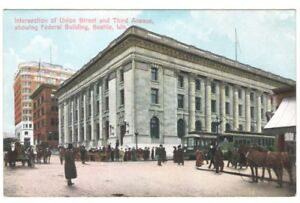 Postcard-WA-Seattle-Union-Street-Third-Avenue-Federal-Bldg-RPPC-c1907-FREE-SHIP