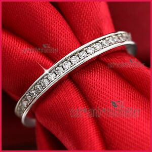9CT-WHITE-GOLD-GF-WOMEN-GIRLS-SOLID-2MM-WEDDING-ETERNITY-DRESS-CRYSTAL-BAND-RING