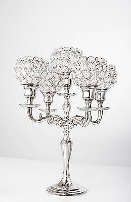 5 Arm Crystal Candelabra Votive Candle Holders Wedding Centerpieces Candlestick