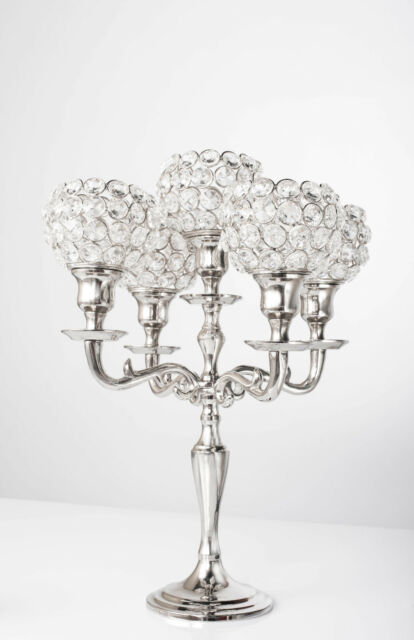 5 Arm Crystal Candelabra Votive Candle Holders Wedding Centerpieces