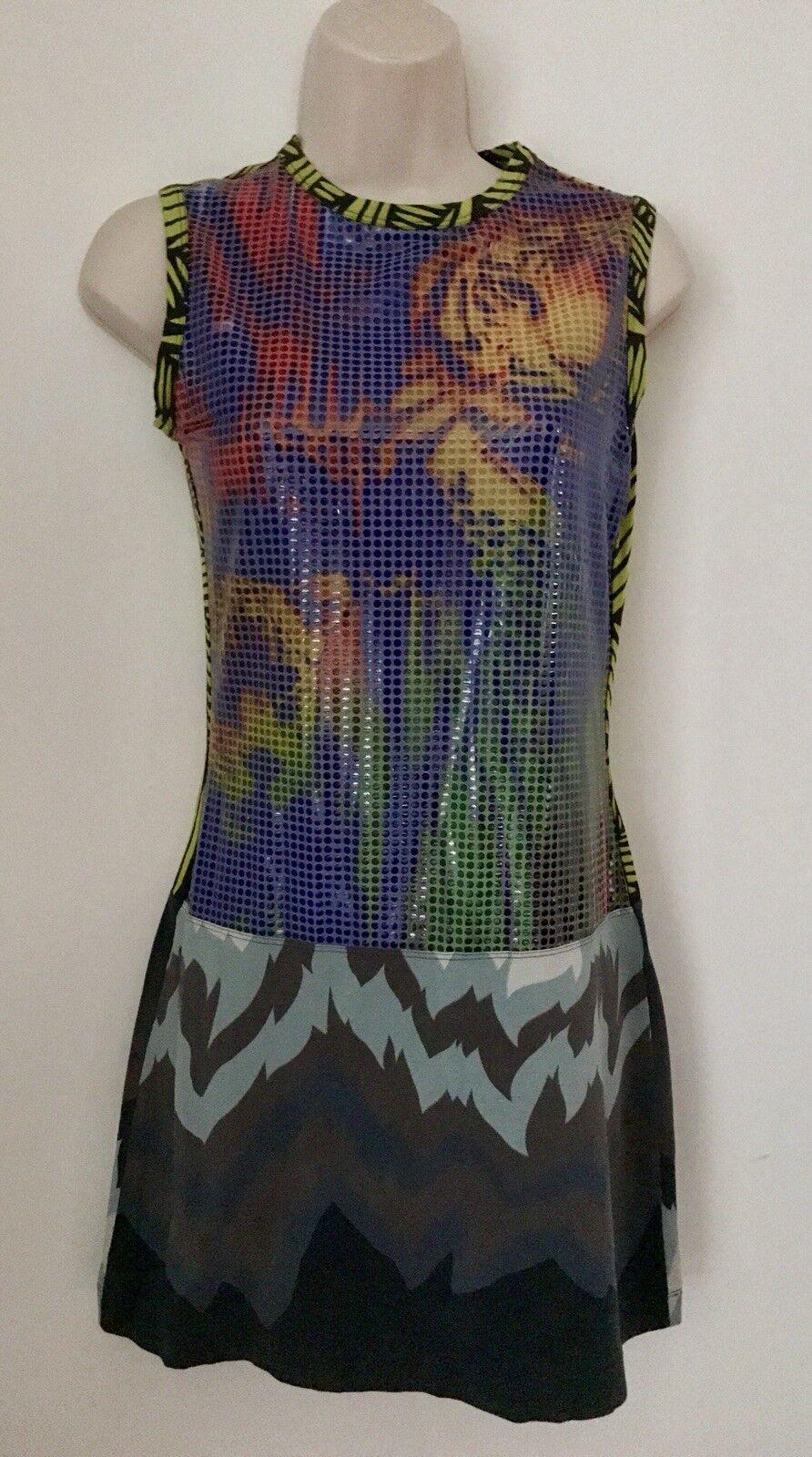 Just Cavalli Sleeveless Mini Dress Sequin Stretch Tiger Größe 2 4
