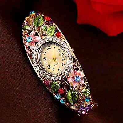 NEW Fashion Women Bangle Crystal Flower Bracelet Analog Quartz Watch Wrist Watch