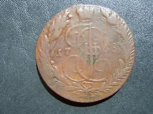 Old-Coin-Russland-Russia-Empire-5-KOPEKS-kopek-kopeck-1768-EM-Eagle-52-8g