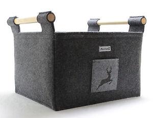 filzkorb mit hirsch deko kaminkorb feuerholzkorb brennholzkorb kaminkorb filz md ebay. Black Bedroom Furniture Sets. Home Design Ideas