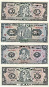 RC0252 Ecuador 1970/71 8 pieces 5 Sucres/10/20 Sucres Uncirculated combine shipp