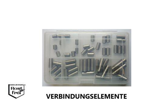 Zylinderstift Sortiment//Set DIN 7 50 Teile EDELSTAHL A1 Ø 8