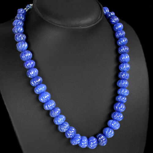collier Finest Top Class 472.00 cts naturel sculpté SAPHIR BLEU perles rondes