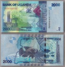 UGANDA 2000 Shillings 2013 UNC FIOR DI STAMPA MOLTO COLORATA Unc Banknote