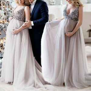 a5fc7be966bd9 Women Sexy Pregnant Sling V Neck Sequin Cocktail Long Maxi Prom Gown ...