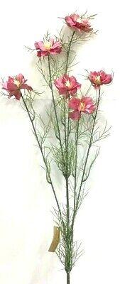 "Green~13/"" T~Silk//PVC//Artificial Poppy Flower Foliage Stem~Pink~Red"