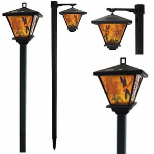 2 x solar tiffany syle garden lamp post lights 2 way lantern style image is loading 2 x solar tiffany syle garden lamp post aloadofball Image collections
