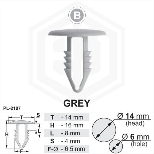 10 x Gris Plastique Sapin TRIM CLIPS 6 mm Trou 14 mm tête de voiture van Push en bouton