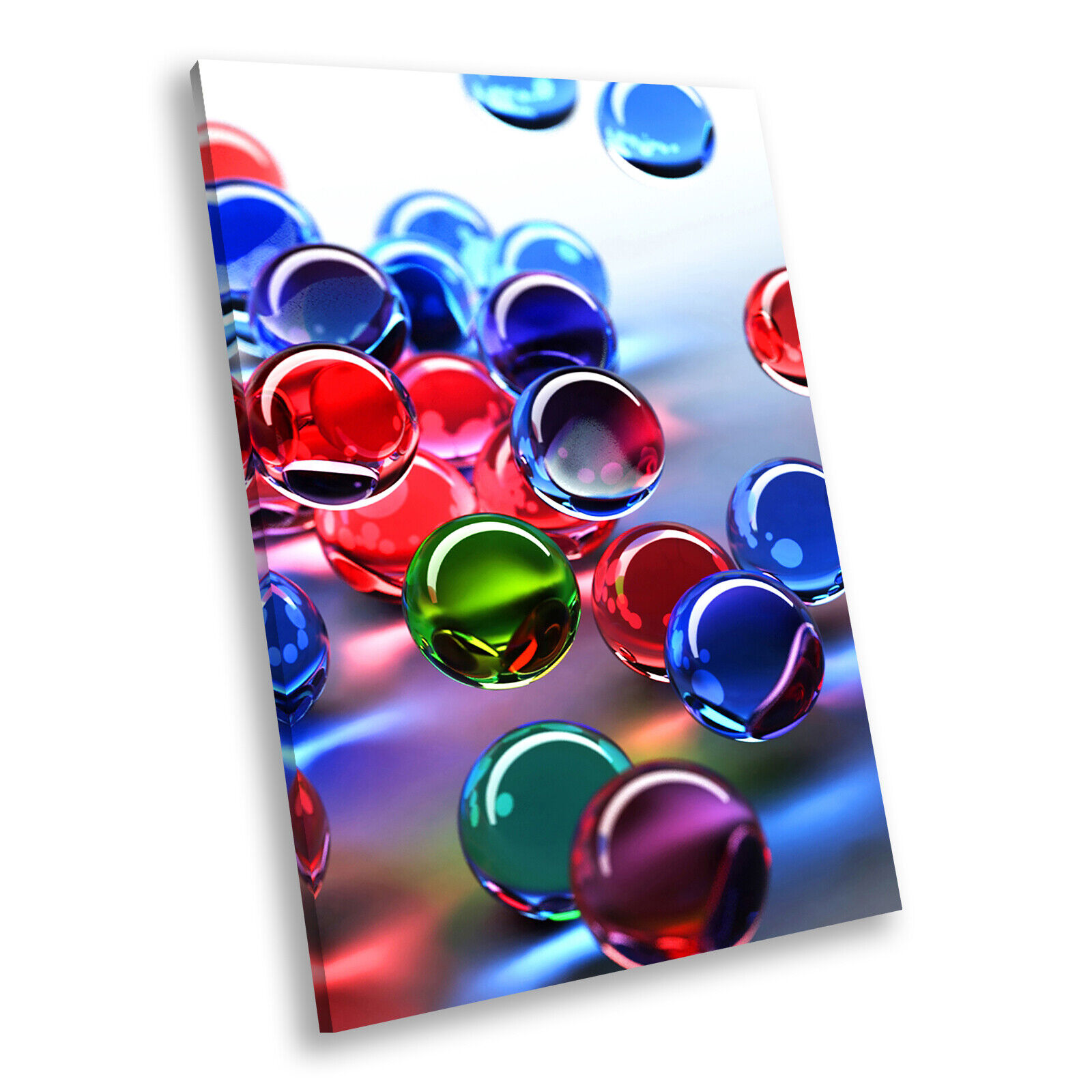 Blau rot 3D Marbles Portrait Abstract Canvas Wall Art Large Picture Prints